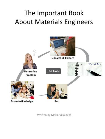 The Important Book About Materials Engineers Written by Maria Villalovos Research & Explore Evaluate/RedesignTest Determine Problem.