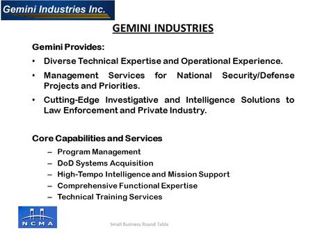 Gemini Provides: Diverse Technical Expertise and Operational Experience. Management Services for National Security/Defense Projects and Priorities. Cutting-Edge.