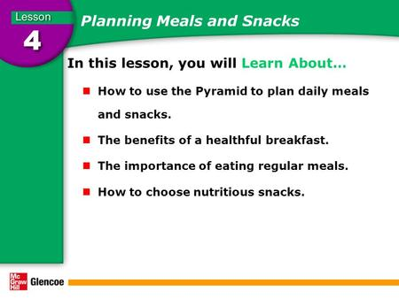 Planning Meals and Snacks In this lesson, you will Learn About… How to use the Pyramid to plan daily meals and snacks. The benefits of a healthful breakfast.