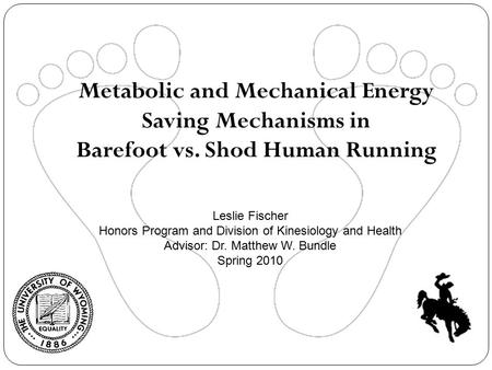 Metabolic and Mechanical Energy Saving Mechanisms in Barefoot vs. Shod Human Running Leslie Fischer Honors Program and Division of Kinesiology and Health.