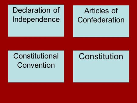 Declaration of Independence Constitutional Convention Constitution Articles of Confederation.