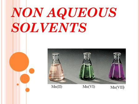 NON AQUEOUS SOLVENTS Mn(II)Mn(VI) Mn(VII ). I NTRODUCTION :- An inorganic nonaqueous solvent is a solvent other than water, that is not an organic compound.