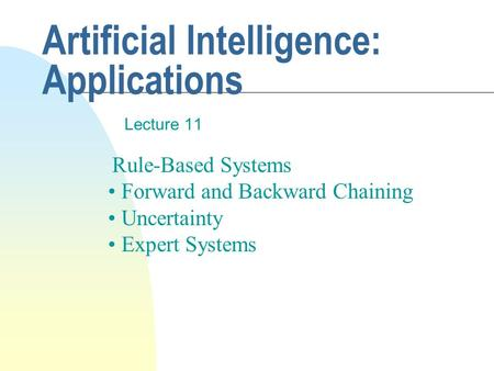 Artificial Intelligence: Applications