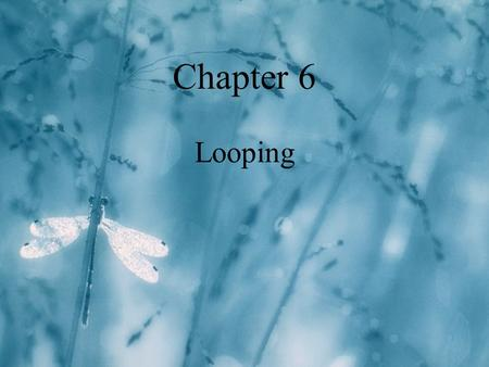 Chapter 6 Looping. 2 l A loop is a repetition control structure. l it causes a single statement or block to be executed repeatedly What is a loop?