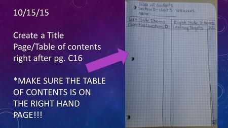 10/15/15 Create a Title Page/Table of contents right after pg. C16 *MAKE SURE THE TABLE OF CONTENTS IS ON THE RIGHT HAND PAGE!!!