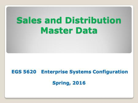 Sales and Distribution Master Data EGS 5620 Enterprise Systems Configuration Spring, 2016.