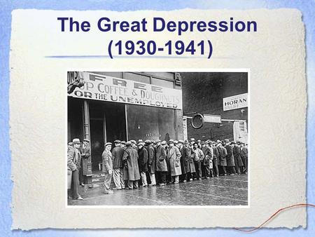 The Great Depression (1930-1941). From Boom to Bust.