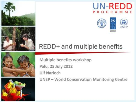 REDD+ and multiple benefits Multiple benefits workshop Palu, 25 July 2012 Ulf Narloch UNEP – World Conservation Monitoring Centre.
