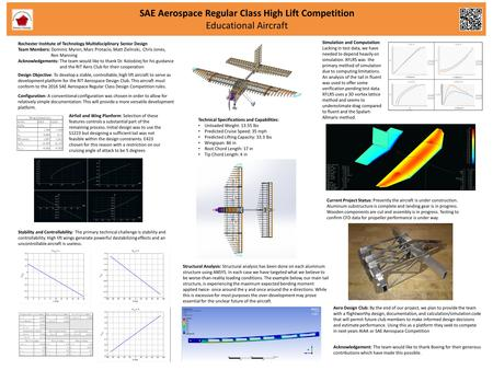 SAE Aerospace Regular Class High Lift Competition Educational Aircraft Design Objective: To develop a stable, controllable, high lift aircraft to serve.
