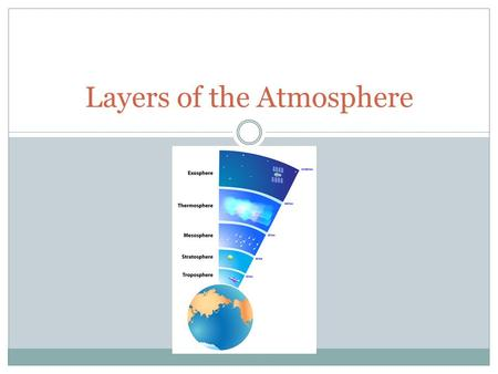 Layers of the Atmosphere. How are they broken up? Temperature Make up (more dense air is in lower layers ) What occurs.