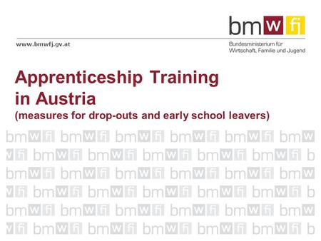 Www.bmwfj.gv.at Apprenticeship Training in Austria (measures for drop-outs and early school leavers)
