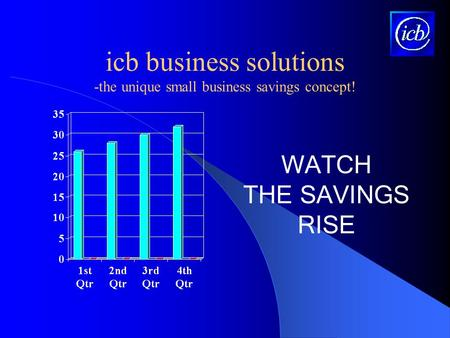 Icb business solutions -the unique small business savings concept! WATCH THE SAVINGS RISE.