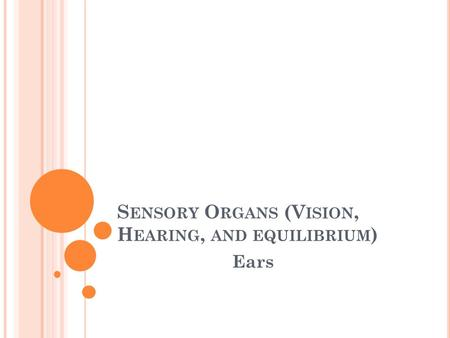 S ENSORY O RGANS (V ISION, H EARING, AND EQUILIBRIUM ) Ears.