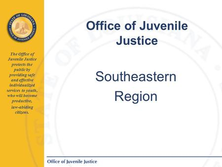 Office of Juvenile Justice The Office of Juvenile Justice protects the public by providing safe and effective individualized services to youth, who will.