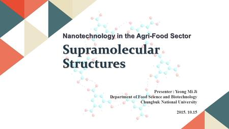 Nanotechnology in the Agri-Food Sector Supramolecular Structures Presenter : Yeong Mi Ji Department of Food Science and Biotechnology Chungbuk National.