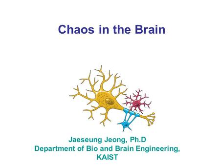 Chaos in the Brain Jaeseung Jeong, Ph.D Department of Bio and Brain Engineering, KAIST.