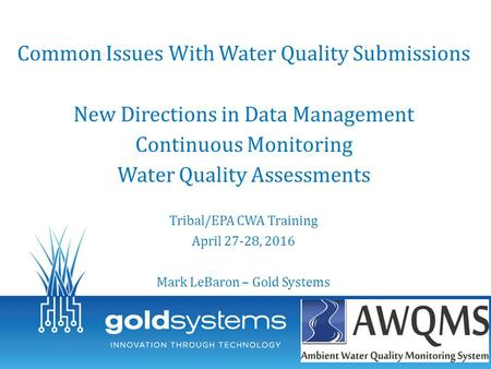Common Issues With Water Quality Submissions New Directions in Data Management Continuous Monitoring Water Quality Assessments Tribal/EPA CWA Training.