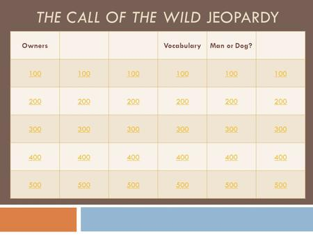 THE CALL OF THE WILD JEOPARDY OwnersVocabularyMan or Dog? 100 200 300 400 500.