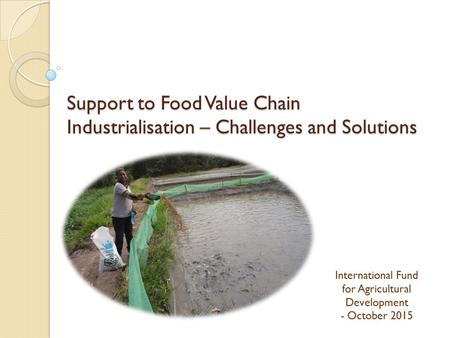 Support to Food Value Chain Industrialisation – Challenges and Solutions International Fund for Agricultural Development - October 2015.