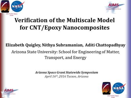Verification of the Multiscale Model for CNT/Epoxy Nanocomposites Elizabeth Quigley, Nithya Subramanian, Aditi Chattopadhyay Arizona State University: