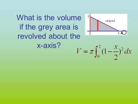 What is the volume if the grey area is revolved about the x-axis?