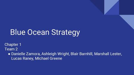 Blue Ocean Strategy Chapter 1 Team 2 ● Danielle Zamora, Ashleigh Wright, Blair Barnhill, Marshall Lester, Lucas Raney, Michael Greene.
