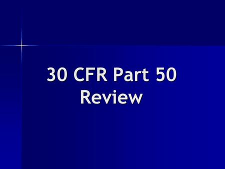 30 CFR Part 50 Review. Degree of Injury or Illness Page T-18 of Textbook.