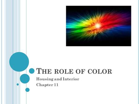 T HE ROLE OF COLOR Housing and Interior Chapter 11.