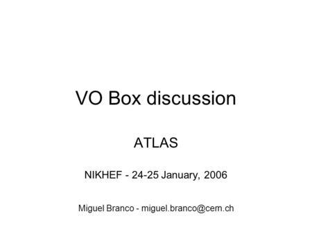 VO Box discussion ATLAS NIKHEF - 24-25 January, 2006 Miguel Branco -