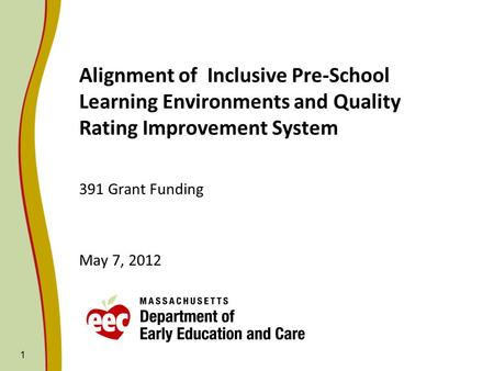 1 Alignment of Inclusive Pre-School Learning Environments and Quality Rating Improvement System 391 Grant Funding May 7, 2012.