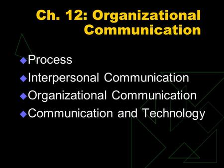 Ch. 12: Organizational Communication  Process  Interpersonal Communication  Organizational Communication  Communication and Technology.