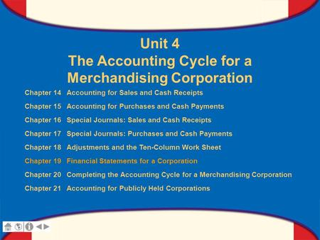 0 Glencoe Accounting Unit 4 Chapter 19 Copyright © by The McGraw-Hill Companies, Inc. All rights reserved. Unit 4 The Accounting Cycle for a Merchandising.