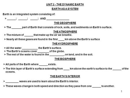 1 UNIT 2 - THE DYNAMIC EARTH EARTH AS A SYSTEM Earth is an integrated system consisting of: > ______; ______; _____; AND ________________ THE GEOSPHERE.
