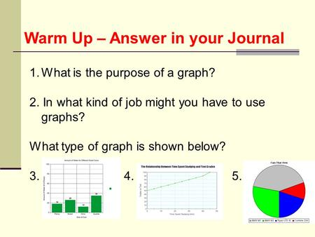 Warm Up – Answer in your Journal 1.What is the purpose of a graph? 2. In what kind of job might you have to use graphs? What type of graph is shown below?