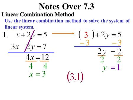 Notes Over 7.3 Linear Combination Method Use the linear combination method to solve the system of linear system.