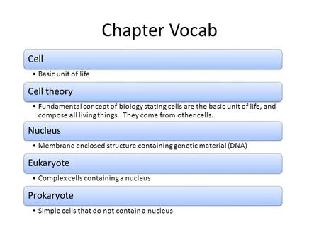 Chapter Vocab Cell Basic unit of life Cell theory Fundamental concept of biology stating cells are the basic unit of life, and compose all living things.