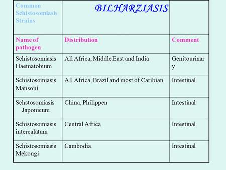 BILHARZIASIS Common Schistosomiasis Strains CommentDistributionName of pathogen Genitourinar y All Africa, Middle East and IndiaSchistosomiasis Haematobium.