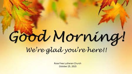 Good Morning! Rose Free Lutheran Church October 25, 2015 We're glad you're here!!