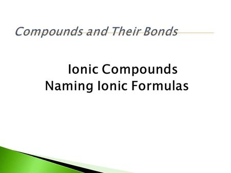 Ionic Compounds Naming Ionic Formulas. Test Your skills!