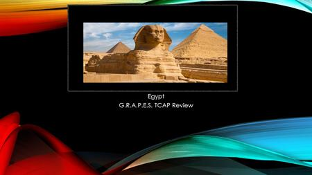 Egypt G.R.A.P.E.S. TCAP Review. GEOGRAPHY OF EGYPT Northern Africa Nile River flows south to north into a delta (fertile soil) River spreads out and drains.