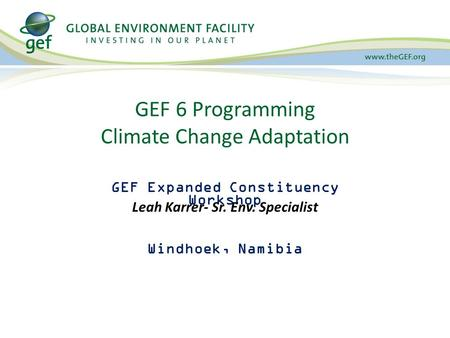 GEF Expanded Constituency Workshop Windhoek, Namibia February 17-18, 2015 GEF 6 Programming Climate Change Adaptation Leah Karrer- Sr. Env. Specialist.