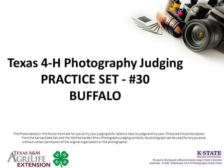 Texas 4-H Photography Judging PRACTICE SET - #30 BUFFALO The Photo classes in this Power Point are for you to try your judging skills. Select a class to.
