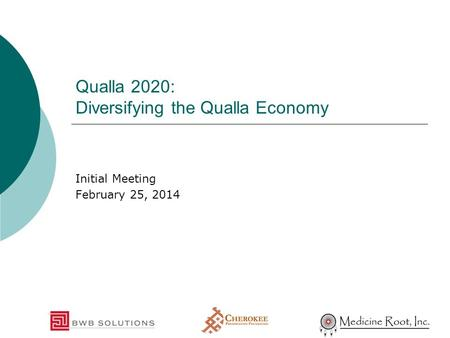 Qualla 2020: Diversifying the Qualla Economy Initial Meeting February 25, 2014.