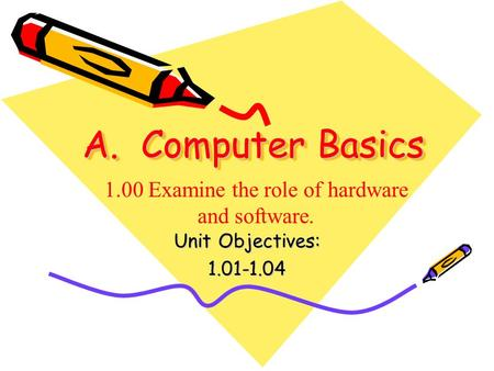 A. Computer Basics Unit Objectives: 1.01-1.04 1.00 Examine the role of hardware and software.