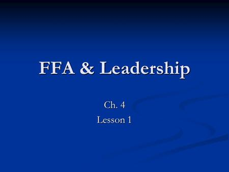 FFA & Leadership Ch. 4 Lesson 1. Agriculture Education Career Tech Science Career Tech Science 3 Integral (combined) parts 3 Integral (combined) parts.