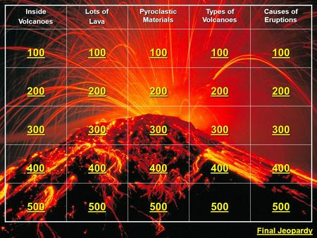 InsideVolcanoes Lots of Lava Pyroclastic Materials Types of Volcanoes Causes of Eruptions 100 200 300 400 500 Final Jeopardy Final Jeopardy.