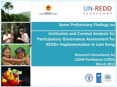 Some Preliminary Findings on Institution and Context Analysis for Participatory Governance Assessment for REDD+ Implementation in Lam Dong Research Consultancy.