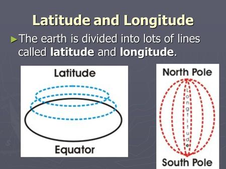 Latitude and Longitude ► The earth is divided into lots of lines called latitude and longitude.