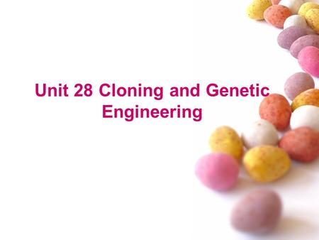 Unit 28 Cloning and Genetic Engineering. Words and Expressions 1)clone 使无性繁殖;复制 (anyone produced asexually from one ancestor) After the successful cloning.