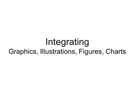 Integrating Graphics, Illustrations, Figures, Charts.